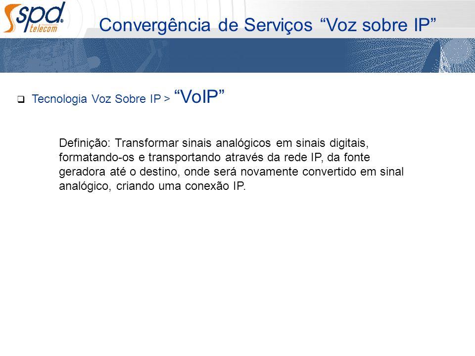 Tecnologia Voz Sobre IP > VoIP Definição: Transformar sinais analógicos em sinais digitais, formatando-os e transportando através da rede IP, da fonte