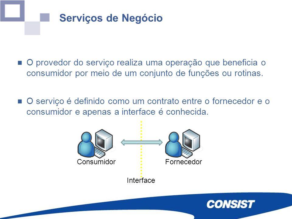 Serviços de Negócio O provedor do serviço realiza uma operação que beneficia o consumidor por meio de um conjunto de funções ou rotinas. O serviço é d