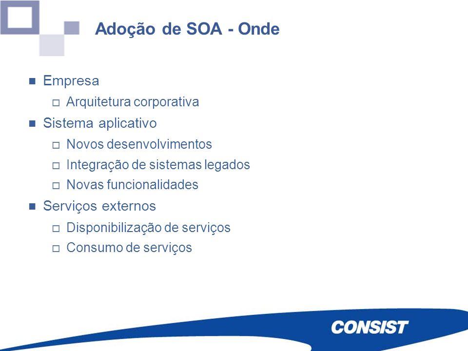 Adoção de SOA - Onde Empresa Arquitetura corporativa Sistema aplicativo Novos desenvolvimentos Integração de sistemas legados Novas funcionalidades Se