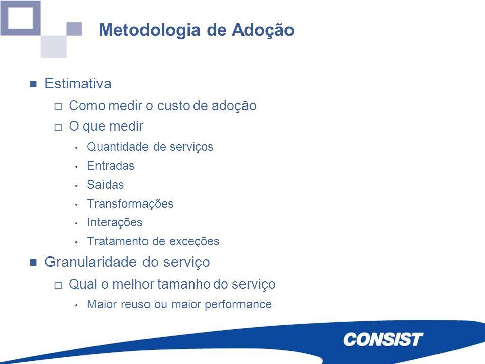 Metodologia de Adoção Estimativa Como medir o custo de adoção O que medir Quantidade de serviços Entradas Saídas Transformações Interações Tratamento