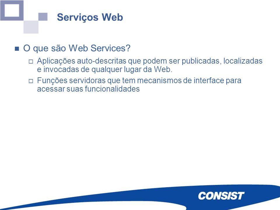 O que são Web Services? Aplicações auto-descritas que podem ser publicadas, localizadas e invocadas de qualquer lugar da Web. Funções servidoras que t