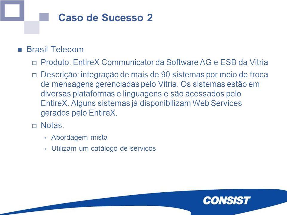 Caso de Sucesso 2 Brasil Telecom Produto: EntireX Communicator da Software AG e ESB da Vitria Descrição: integração de mais de 90 sistemas por meio de