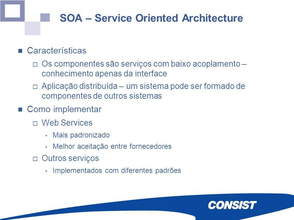 SOA – Service Oriented Architecture Características Os componentes são serviços com baixo acoplamento – conhecimento apenas da interface Aplicação dis