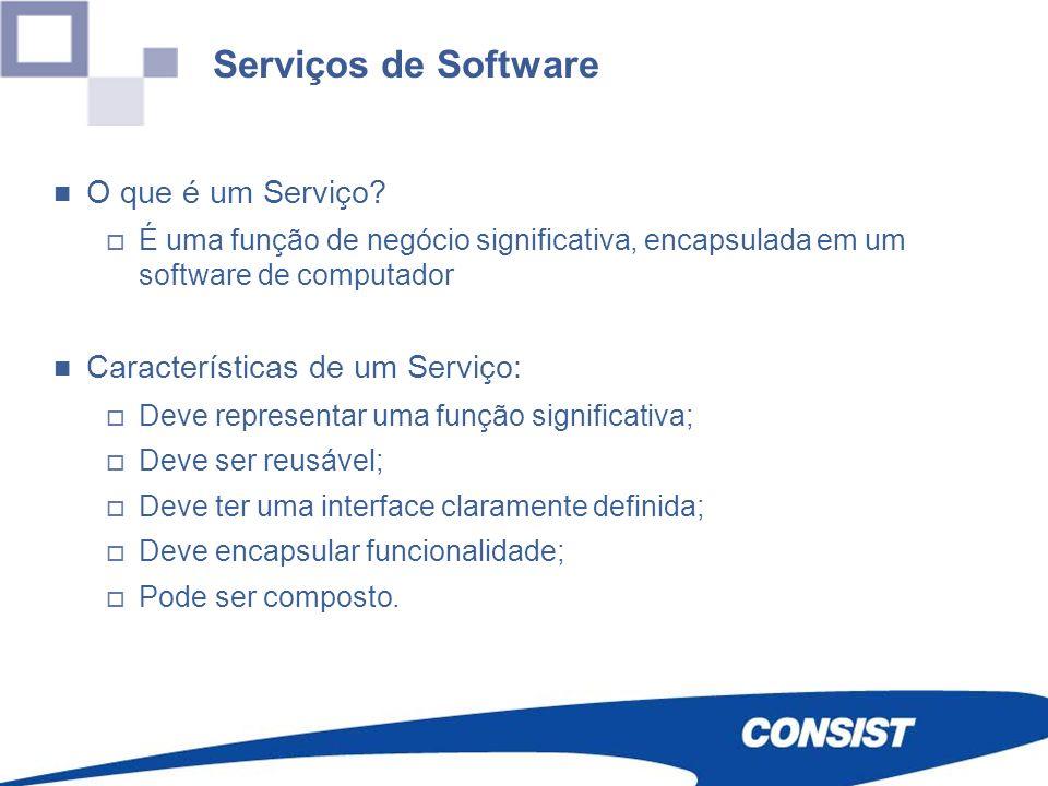 O que é um Serviço? É uma função de negócio significativa, encapsulada em um software de computador Características de um Serviço: Deve representar um