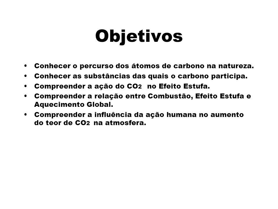 Objetivos Conhecer o percurso dos átomos de carbono na natureza. Conhecer as substâncias das quais o carbono participa. Compreender a ação do CO 2 no