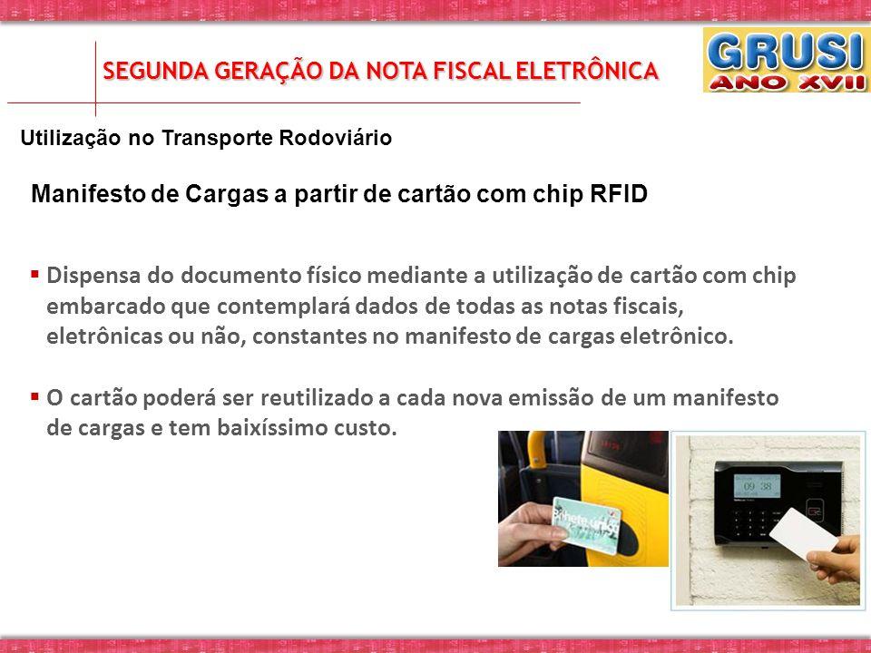 Utilização no Transporte Rodoviário Manifesto de Cargas a partir de cartão com chip RFID SEGUNDA GERAÇÃO DA NOTA FISCAL ELETRÔNICA Dispensa do documen