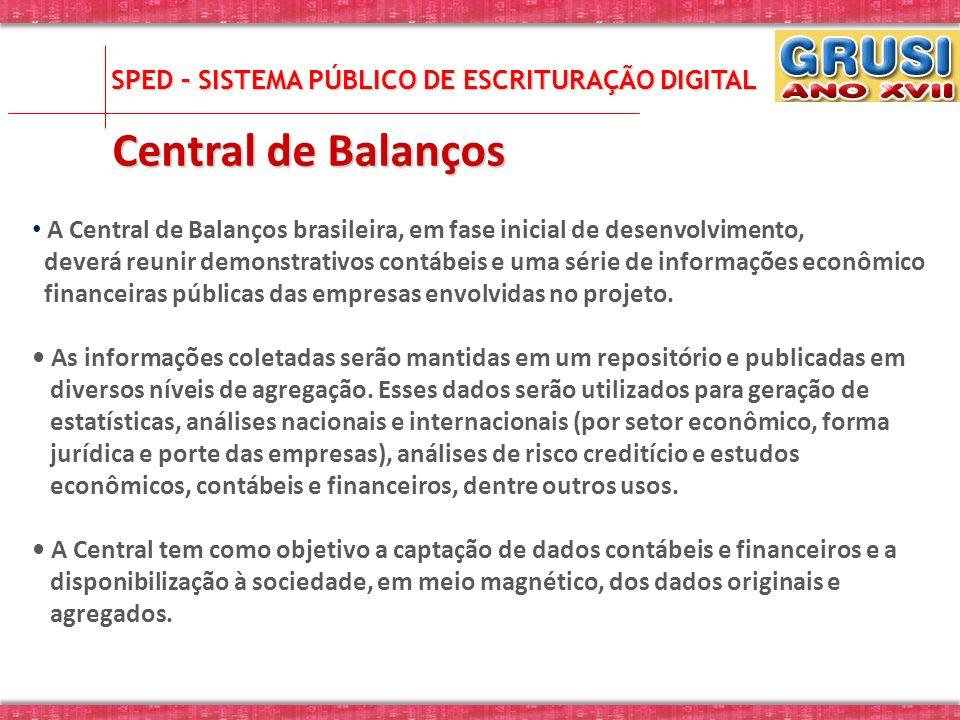 A Central de Balanços brasileira, em fase inicial de desenvolvimento, deverá reunir demonstrativos contábeis e uma série de informações econômico fina