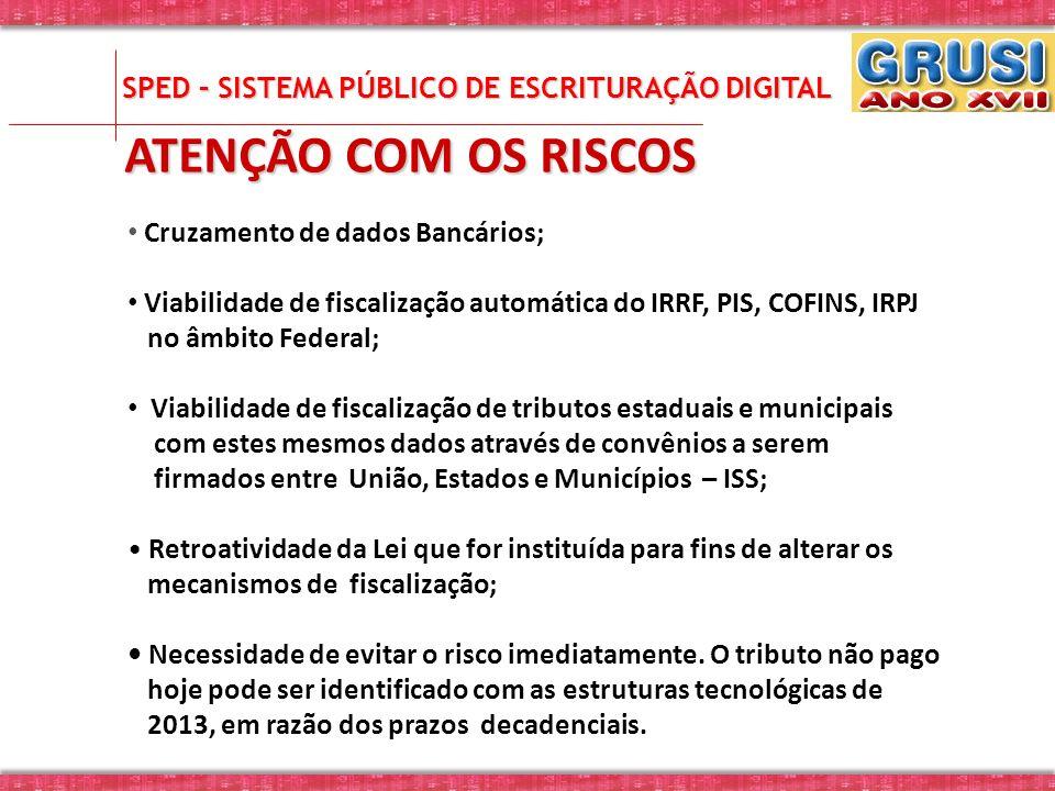 ATENÇÃO COM OS RISCOS Cruzamento de dados Bancários; Viabilidade de fiscalização automática do IRRF, PIS, COFINS, IRPJ no âmbito Federal; Viabilidade