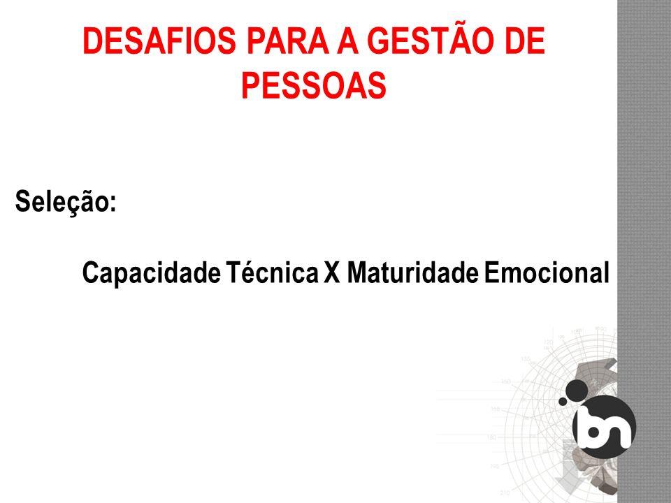 DESAFIOS PARA A GESTÃO DE PESSOAS Seleção: Capacidade Técnica X Maturidade Emocional