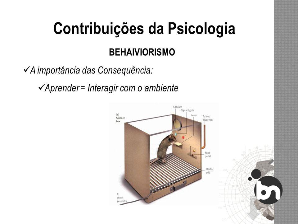 Contribuições da Psicologia BEHAIVIORISMO A importância das Consequência: Aprender = Interagir com o ambiente