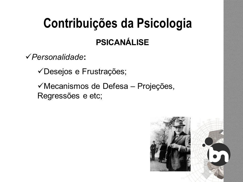 Contribuições da Psicologia PSICANÁLISE Personalidade: Desejos e Frustrações; Mecanismos de Defesa – Projeções, Regressões e etc;