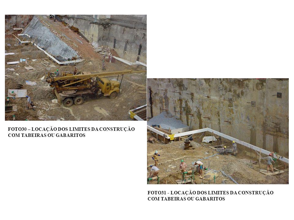 FOTO30 – LOCAÇÃO DOS LIMITES DA CONSTRUÇÃO COM TABEIRAS OU GABARITOS FOTO31 - LOCAÇÃO DOS LIMITES DA CONSTRUÇÃO COM TABEIRAS OU GABARITOS