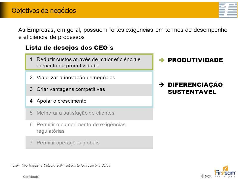 © 2008, Confidencial Objetivos de negócios Lista de desejos dos CEO´s 1Reduzir custos através de maior eficiência e aumento de produtividade 2Viabiliz