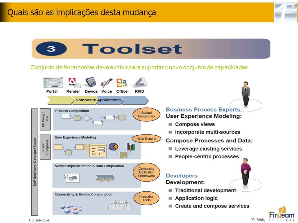 © 2008, Confidencial Quais são as implicações desta mudança Conjunto de ferramentas deve evoluir para suportar o novo conjunto de capacidades