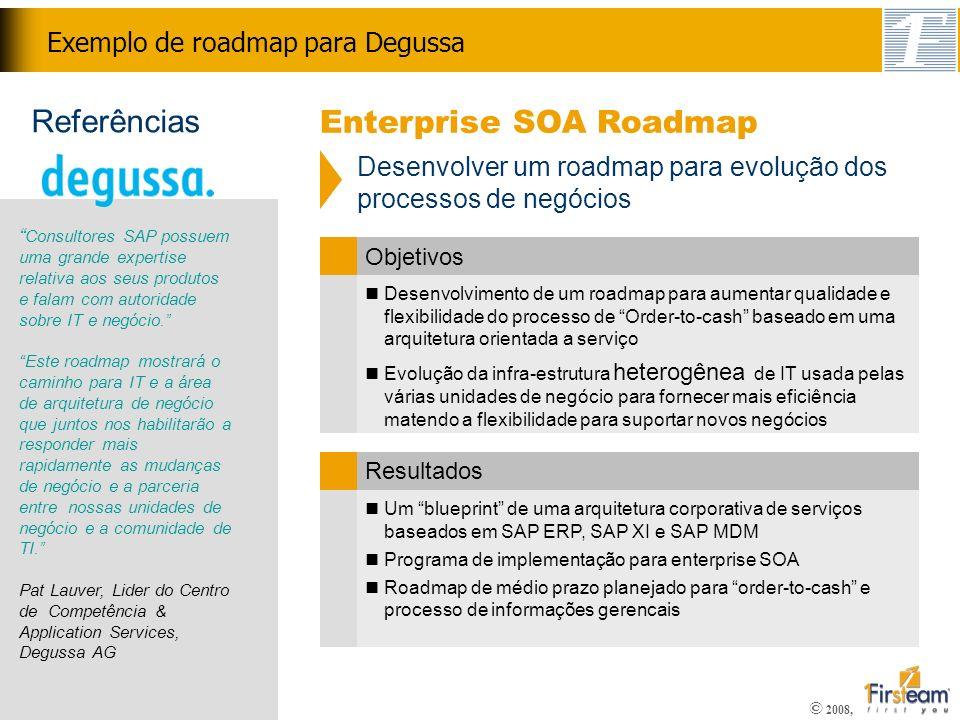 © 2008, Confidencial Exemplo de roadmap para Degussa Desenvolvimento de um roadmap para aumentar qualidade e flexibilidade do processo de Order-to-cas