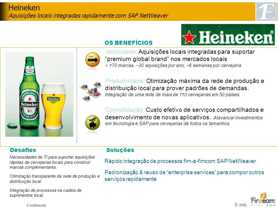 © 2008, Confidencial Velocidade: Aquisições locais integradas para suportar premium global brand nos mercados locais > 170 marcas, ~30 aquisições por
