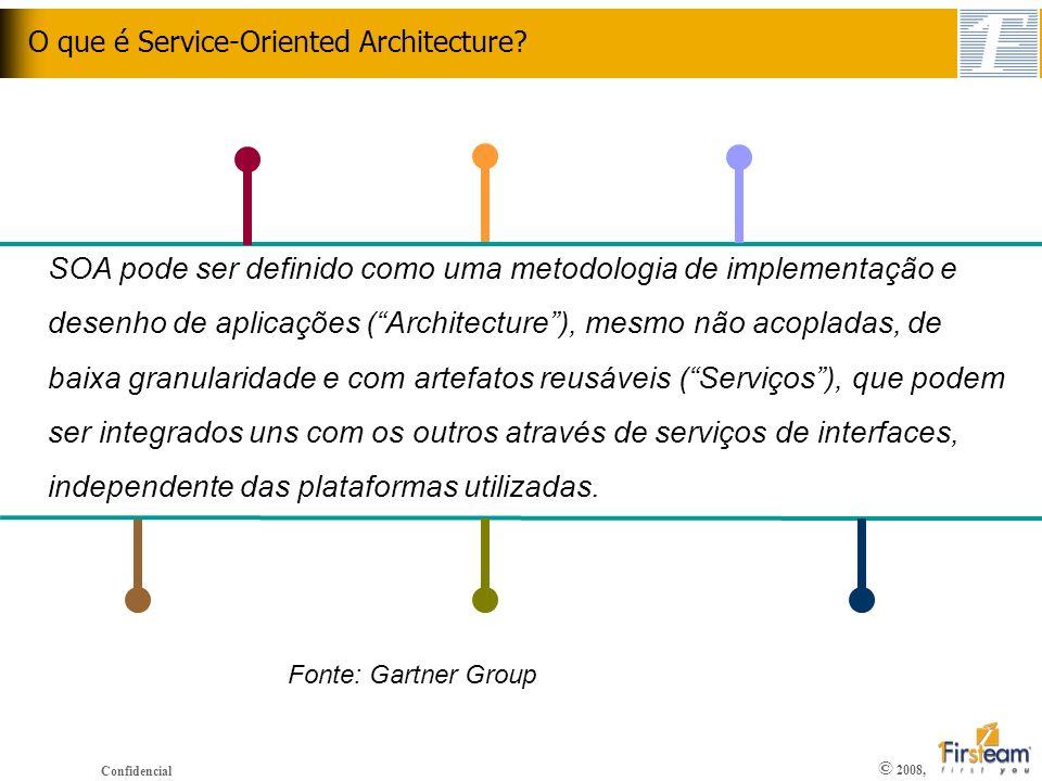 © 2008, Confidencial O que é Service-Oriented Architecture? SOA pode ser definido como uma metodologia de implementação e desenho de aplicações (Archi