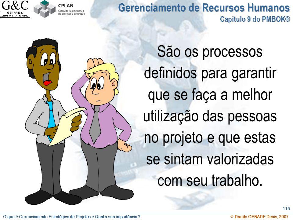 O que é Gerenciamento Estratégico de Projetos e Qual a sua importância ? © Danilo GENARE Denis, 2007 119 Gerenciamento de Recursos Humanos Capítulo 9