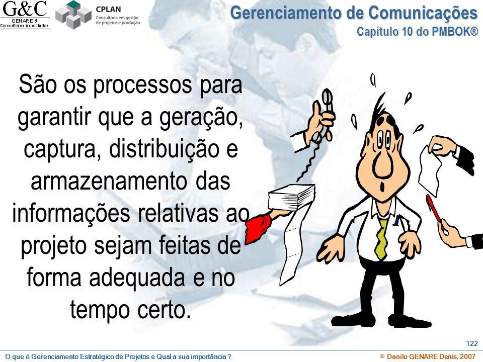 O que é Gerenciamento Estratégico de Projetos e Qual a sua importância ? © Danilo GENARE Denis, 2007 122 Gerenciamento de Comunicações Capítulo 10 do