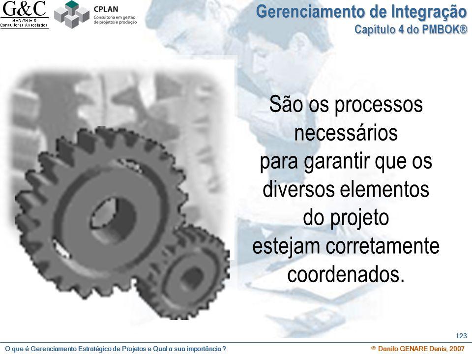 O que é Gerenciamento Estratégico de Projetos e Qual a sua importância ? © Danilo GENARE Denis, 2007 123 Gerenciamento de Integração Capítulo 4 do PMB
