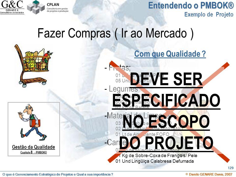 O que é Gerenciamento Estratégico de Projetos e Qual a sua importância ? © Danilo GENARE Denis, 2007 129 Com que Qualidade ? Gestão da Qualidade Capít
