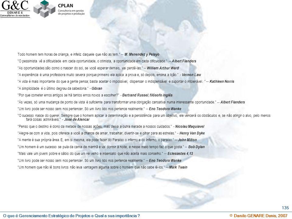 O que é Gerenciamento Estratégico de Projetos e Qual a sua importância ? © Danilo GENARE Denis, 2007 135 Todo homem tem horas de criança, e infeliz da