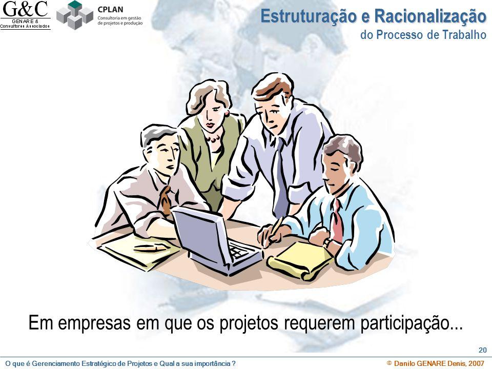 O que é Gerenciamento Estratégico de Projetos e Qual a sua importância ? © Danilo GENARE Denis, 2007 20 Em empresas em que os projetos requerem partic