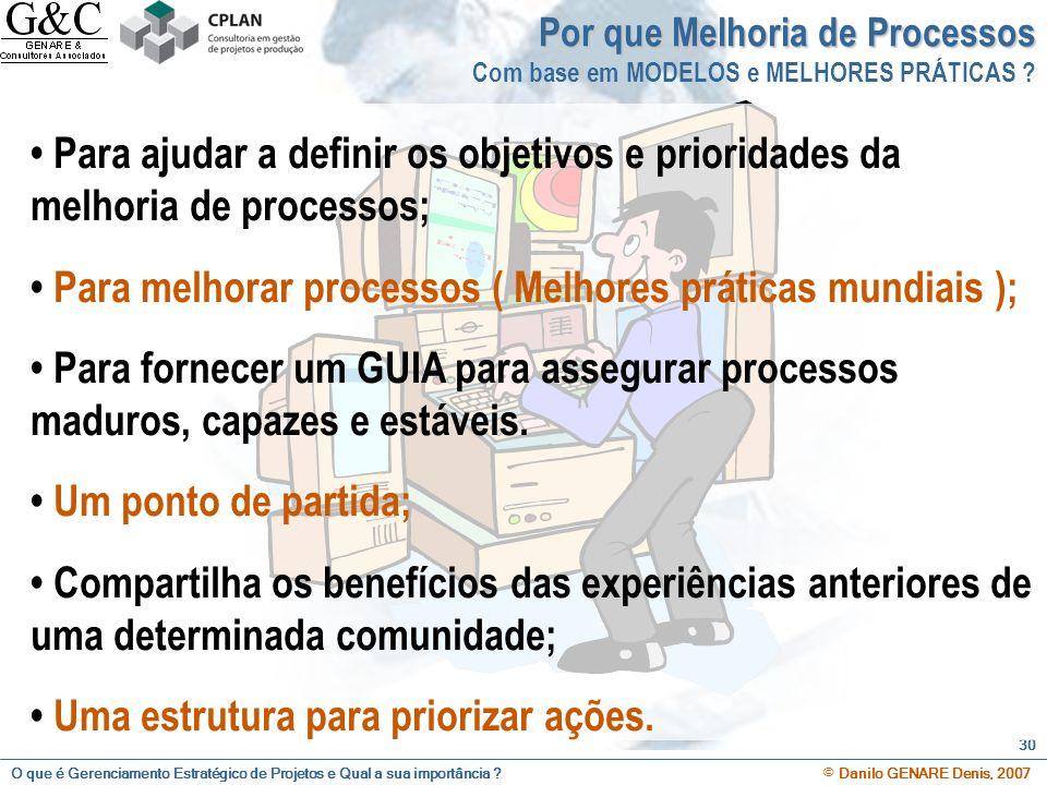 O que é Gerenciamento Estratégico de Projetos e Qual a sua importância ? © Danilo GENARE Denis, 2007 30 Para ajudar a definir os objetivos e prioridad
