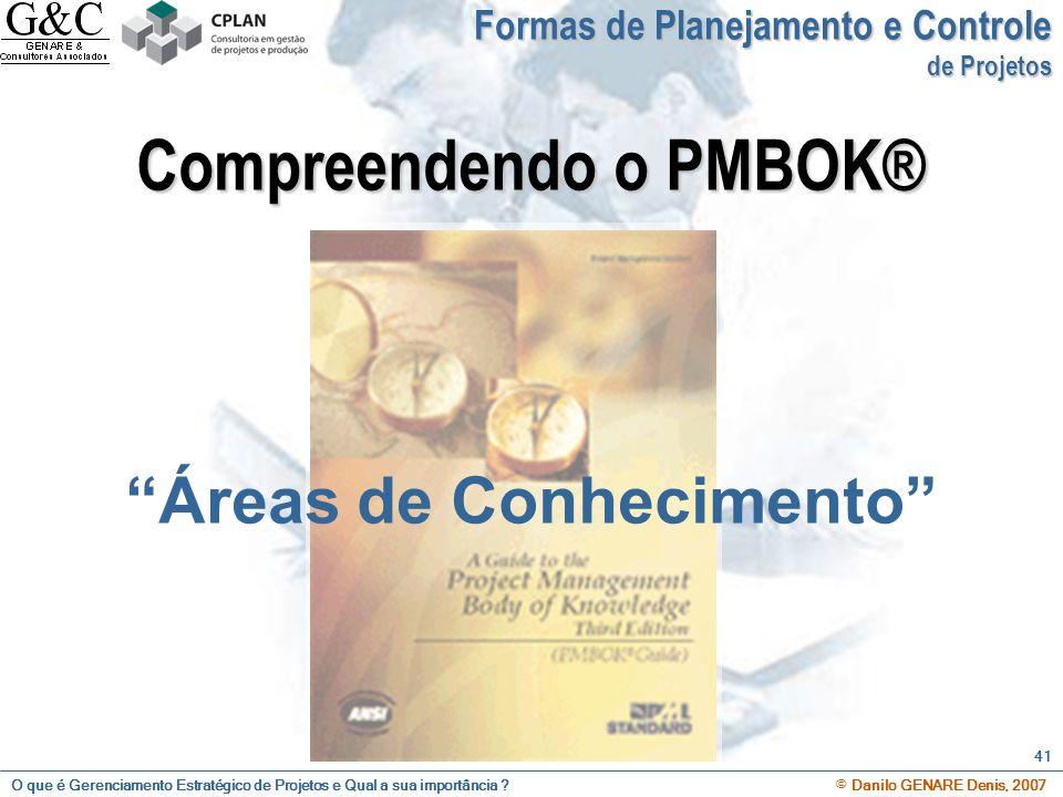 O que é Gerenciamento Estratégico de Projetos e Qual a sua importância ? © Danilo GENARE Denis, 2007 41 Compreendendo o PMBOK® Áreas de Conhecimento F