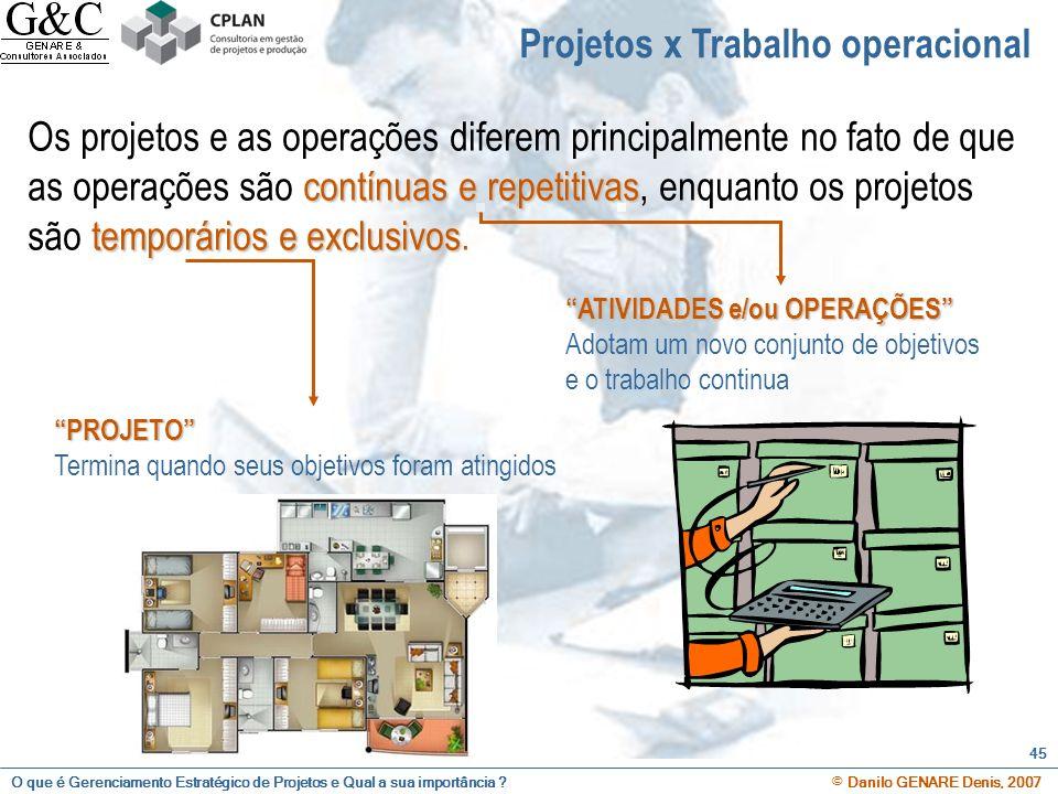 O que é Gerenciamento Estratégico de Projetos e Qual a sua importância ? © Danilo GENARE Denis, 2007 45 Projetos x Trabalho operacional contínuas e re