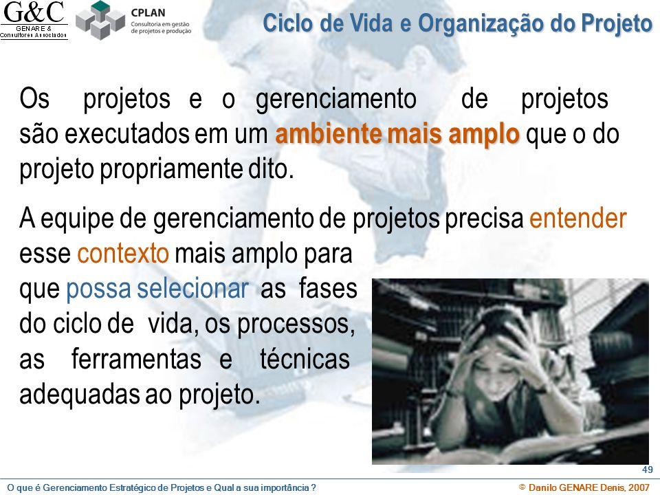 O que é Gerenciamento Estratégico de Projetos e Qual a sua importância ? © Danilo GENARE Denis, 2007 49 Ciclo de Vida e Organização do Projeto ambient