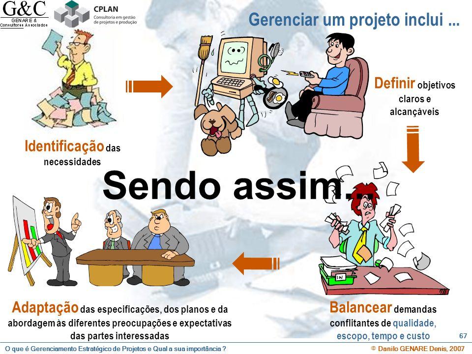 O que é Gerenciamento Estratégico de Projetos e Qual a sua importância ? © Danilo GENARE Denis, 2007 67 Gerenciar um projeto inclui... Identificação d