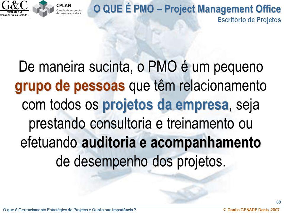 O que é Gerenciamento Estratégico de Projetos e Qual a sua importância ? © Danilo GENARE Denis, 2007 69 O QUE É PMO – Project Management Office Escrit