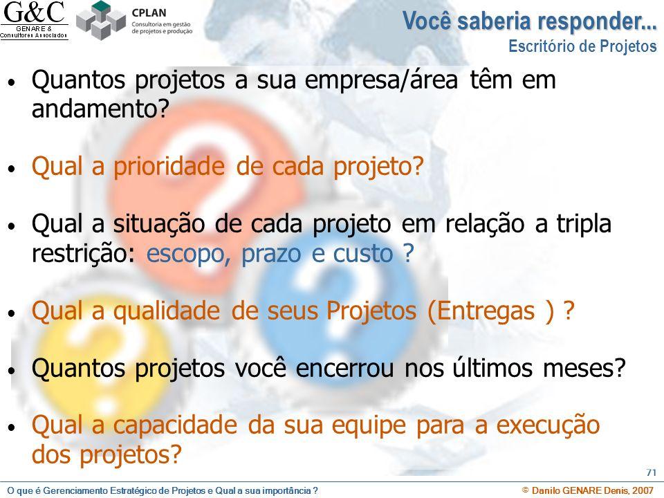 O que é Gerenciamento Estratégico de Projetos e Qual a sua importância ? © Danilo GENARE Denis, 2007 71 Você saberia responder... Escritório de Projet