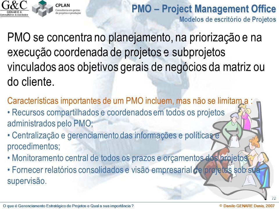 O que é Gerenciamento Estratégico de Projetos e Qual a sua importância ? © Danilo GENARE Denis, 2007 72 PMO se concentra no planejamento, na priorizaç