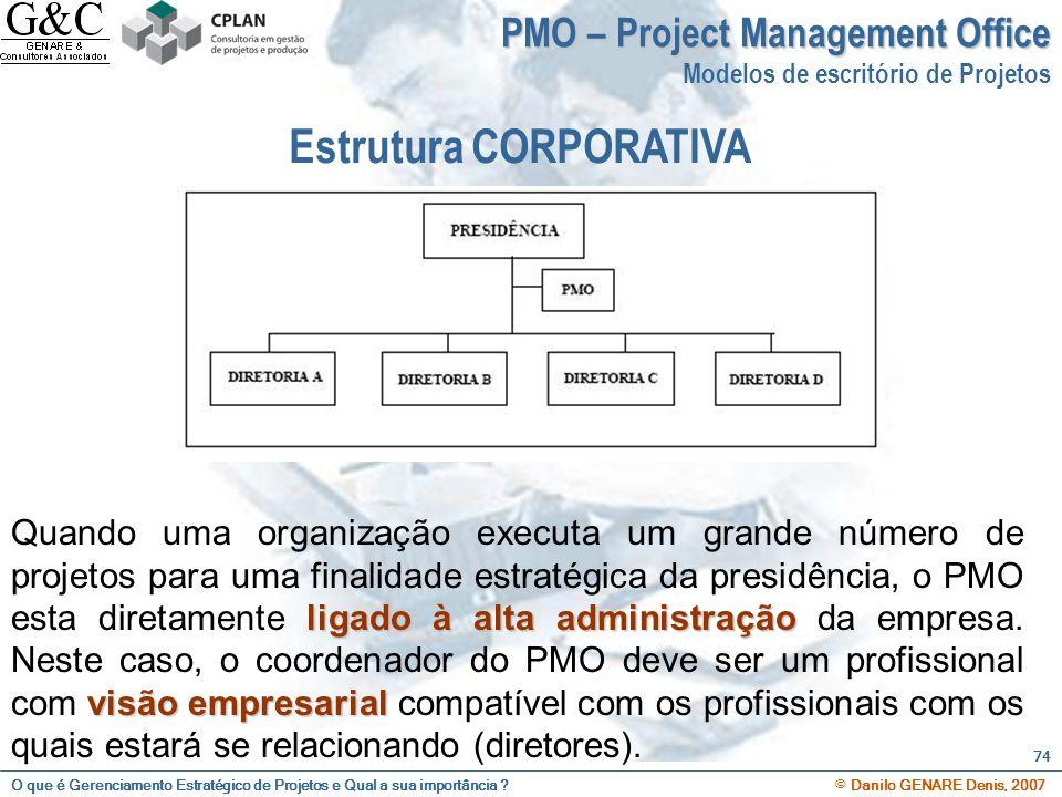O que é Gerenciamento Estratégico de Projetos e Qual a sua importância ? © Danilo GENARE Denis, 2007 74 PMO – Project Management Office Modelos de esc