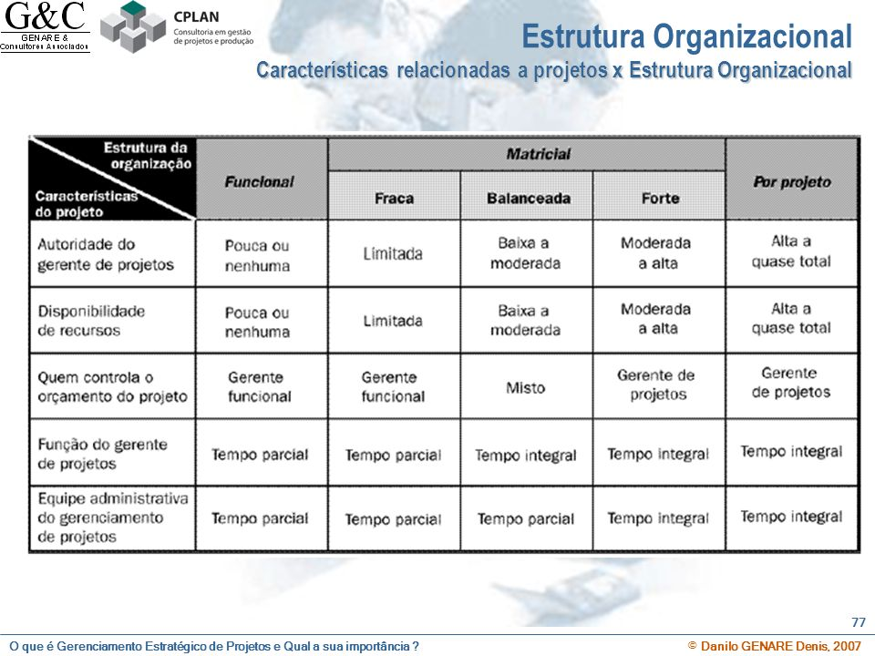 O que é Gerenciamento Estratégico de Projetos e Qual a sua importância ? © Danilo GENARE Denis, 2007 77 Estrutura Organizacional Características relac