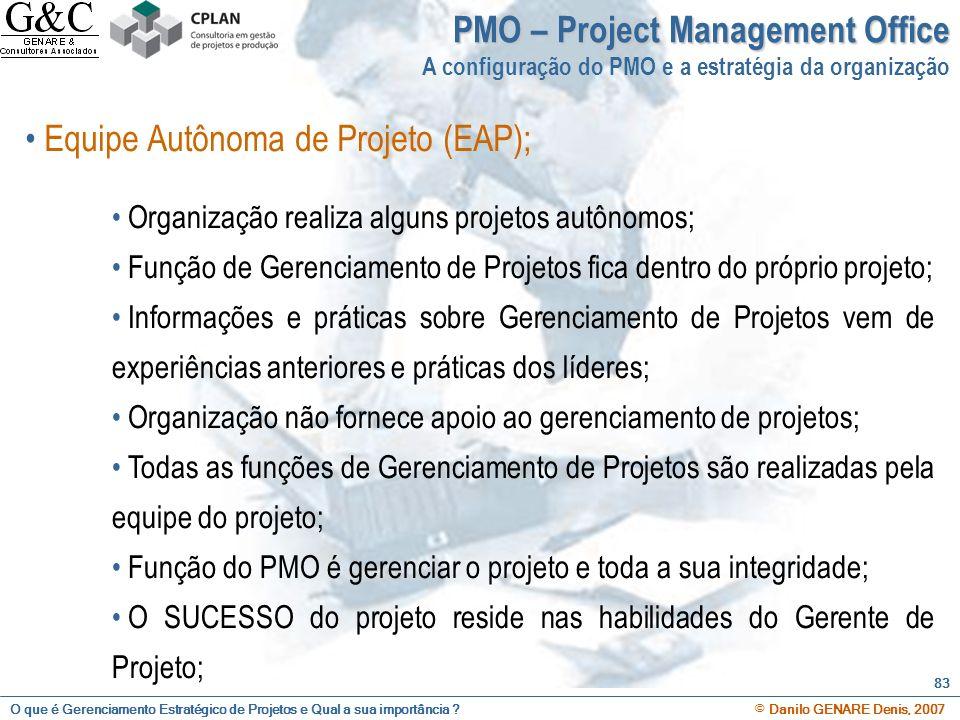 O que é Gerenciamento Estratégico de Projetos e Qual a sua importância ? © Danilo GENARE Denis, 2007 83 PMO – Project Management Office A configuração