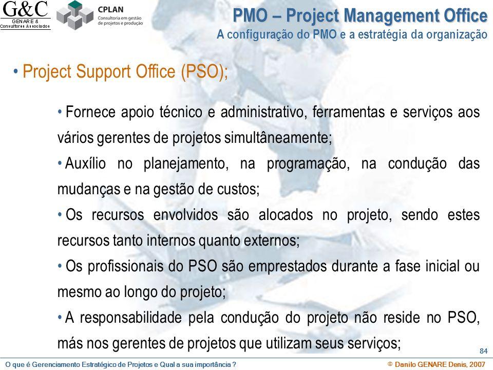 O que é Gerenciamento Estratégico de Projetos e Qual a sua importância ? © Danilo GENARE Denis, 2007 84 PMO – Project Management Office A configuração