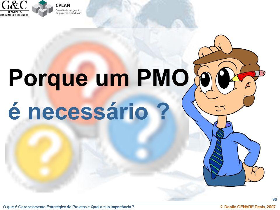 O que é Gerenciamento Estratégico de Projetos e Qual a sua importância ? © Danilo GENARE Denis, 2007 90 Porque um PMO é necessário ?