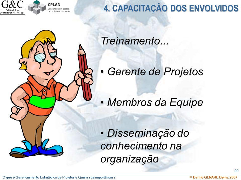 O que é Gerenciamento Estratégico de Projetos e Qual a sua importância ? © Danilo GENARE Denis, 2007 99 4. CAPACITAÇÃO DOS ENVOLVIDOS Treinamento... G