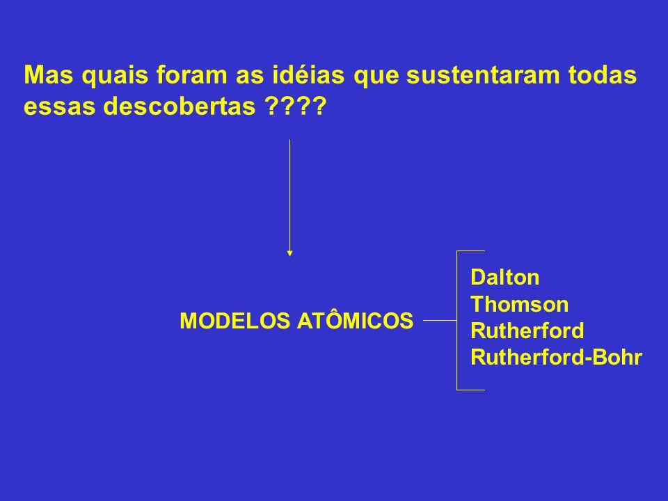 Mas quais foram as idéias que sustentaram todas essas descobertas ???? MODELOS ATÔMICOS Dalton Thomson Rutherford Rutherford-Bohr