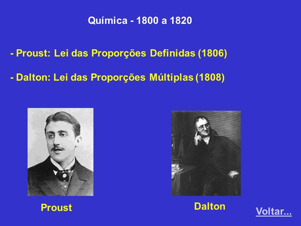 Química - 1800 a 1820 - Proust: Lei das Proporções Definidas (1806) - Dalton: Lei das Proporções Múltiplas (1808) Proust Dalton Voltar...