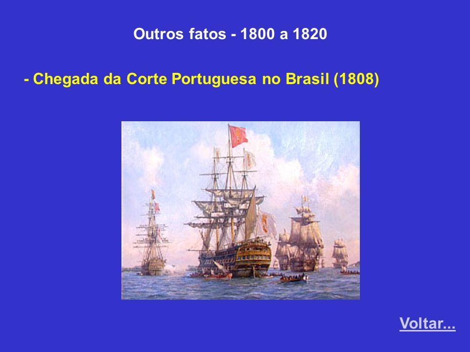 Outros fatos - 1800 a 1820 - Chegada da Corte Portuguesa no Brasil (1808) Voltar...