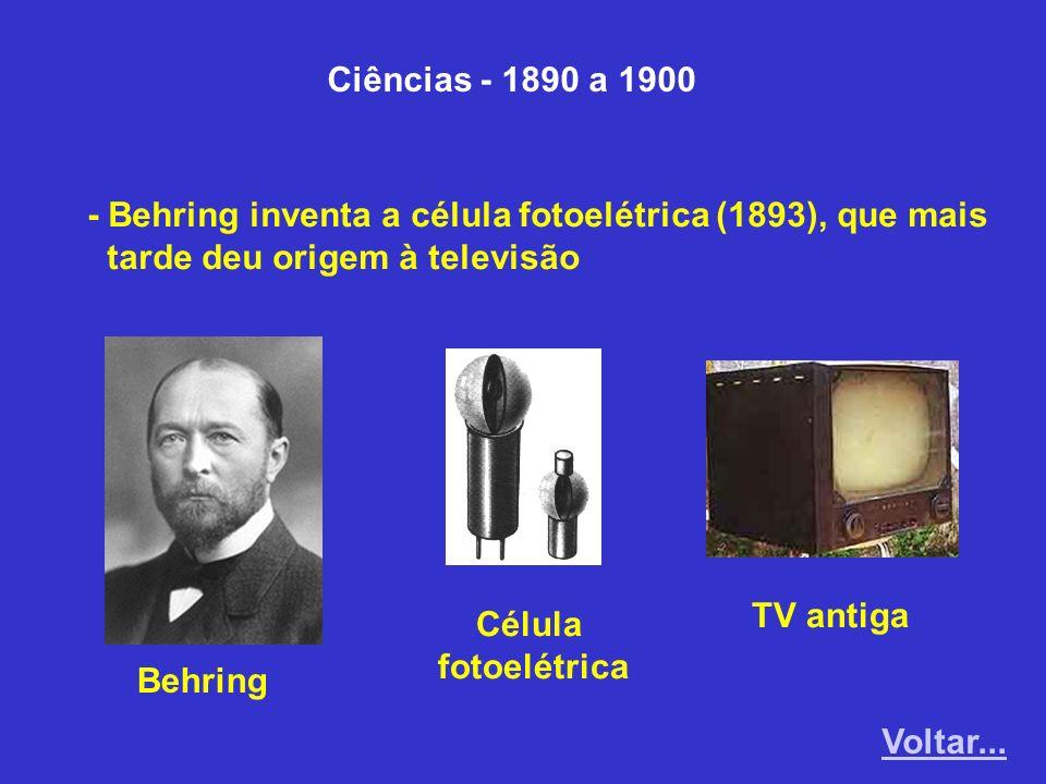 Ciências - 1890 a 1900 - Behring inventa a célula fotoelétrica (1893), que mais tarde deu origem à televisão Behring Célula fotoelétrica TV antiga Vol