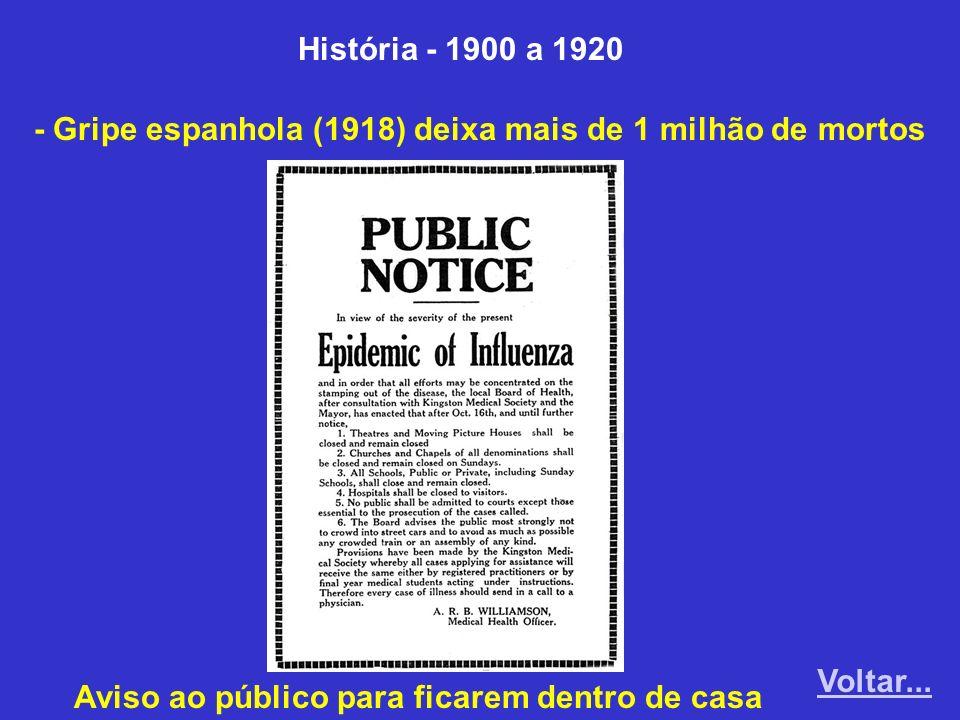 História - 1900 a 1920 - Gripe espanhola (1918) deixa mais de 1 milhão de mortos Aviso ao público para ficarem dentro de casa Voltar...
