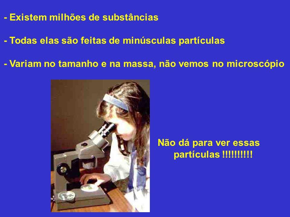 - Existem milhões de substâncias - Todas elas são feitas de minúsculas partículas - Variam no tamanho e na massa, não vemos no microscópio Não dá para