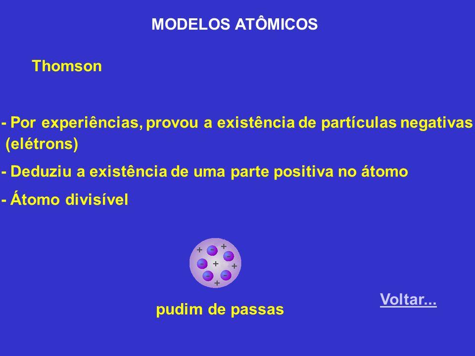 MODELOS ATÔMICOS Thomson - Por experiências, provou a existência de partículas negativas (elétrons) - Deduziu a existência de uma parte positiva no át