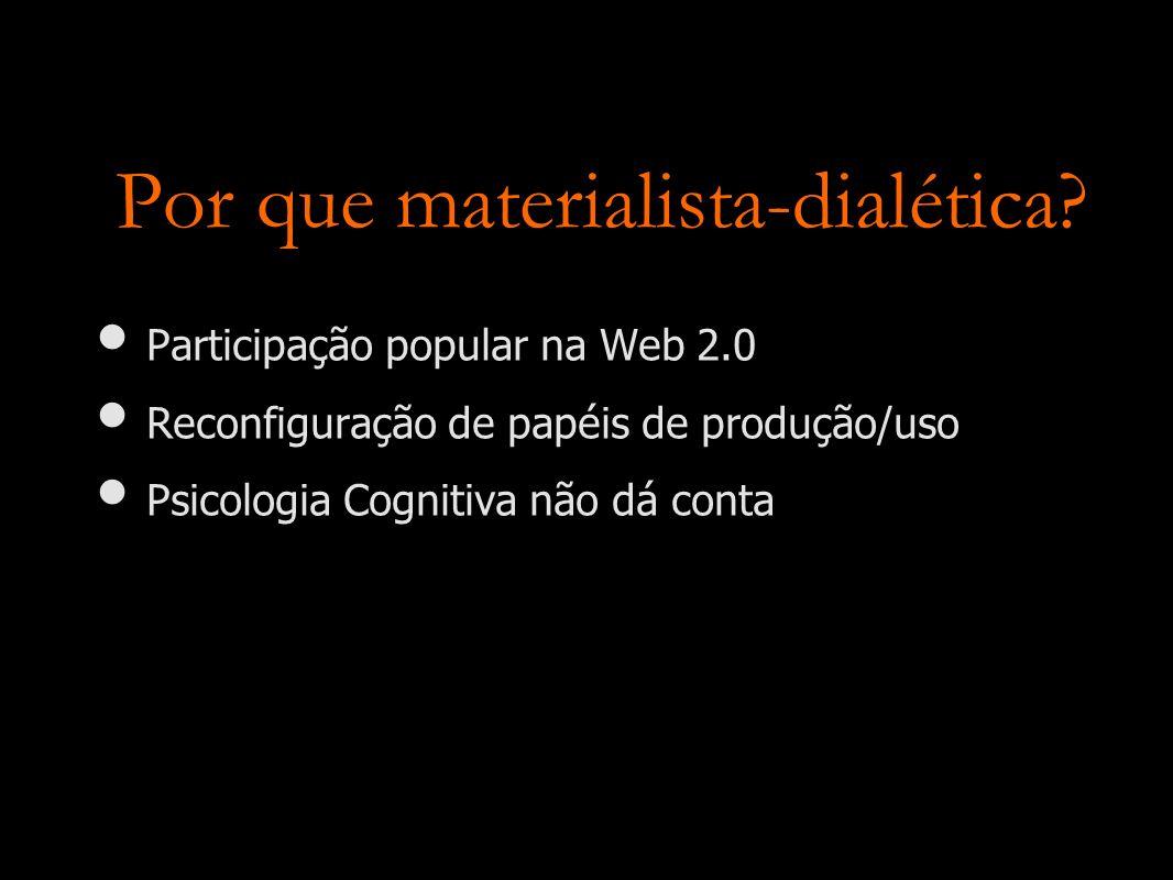 Por que materialista-dialética? Participação popular na Web 2.0 Reconfiguração de papéis de produção/uso Psicologia Cognitiva não dá conta