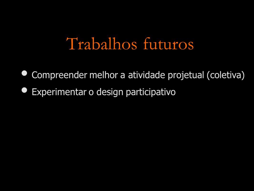 Trabalhos futuros Compreender melhor a atividade projetual (coletiva) Experimentar o design participativo